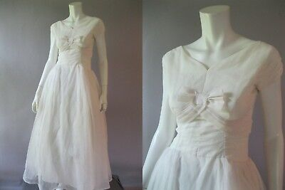 1950s Tea Length Flawless, White Wedding Dress - Short Wedding Gown