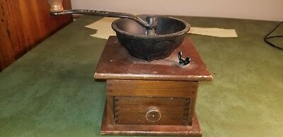 Vintage W H Co. Cast Iron & Dovetail Wood Coffee Grinder / Mill
