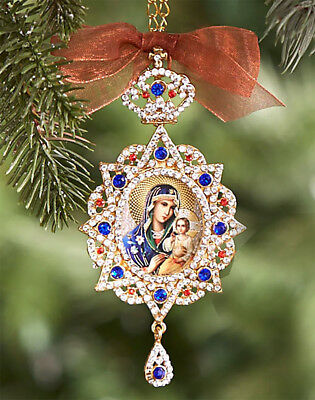 Jewel Russian Icon Pendant Madonna & Child Christ Chain Christmas Room Ornament