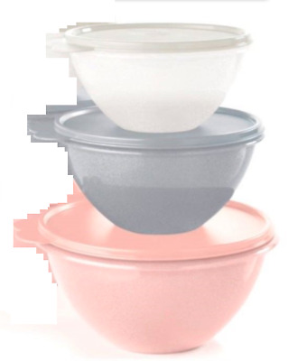 Tupperware Wonderlier Bowls 3 pc Set Starlight Sparkle Pink Silver White ~New