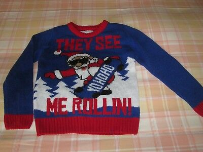 """Boys MATALAN  Blue Musical """"They see me Rollin"""" Father Christmas Jumper ,Age 6"""