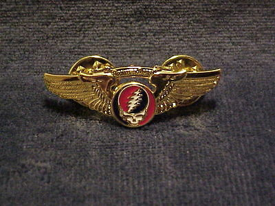New Grateful Dead Steal Your Face Wings Pin-Gold Plated