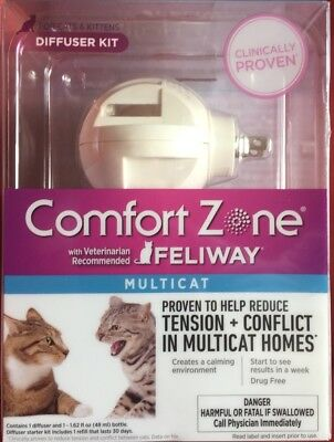 Comfort Zone with Feliway MultiCat Diffuser Kit Pet Calming 48ml 30day New