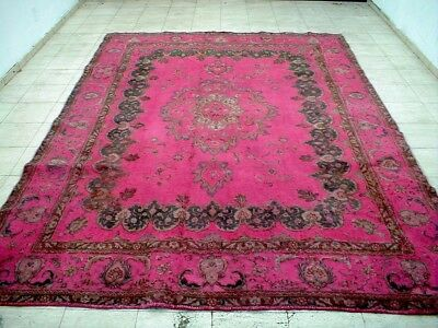 8X11 1920's INCREDIBLE HAND KNOTTED SHABBY CHIC DECORATIVE OVERDYED ORIENTAL RUG