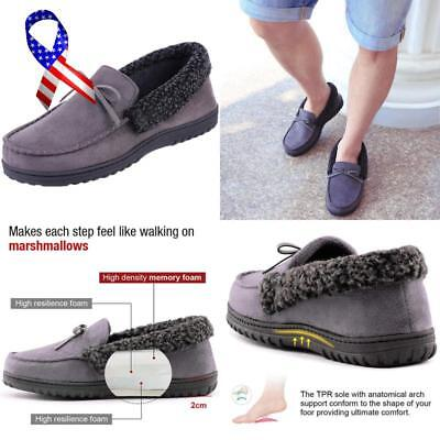 Homeideas Men'S Faux Fur Lined Suede House Slippers, Indoor Outdoor Moccasins Wi