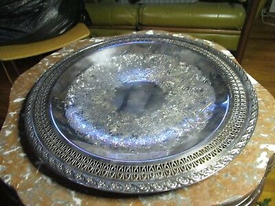 "Vtg Wm Rogers & Sons Silver plate Spring Flowers Tray Meat Dish 15"" Filigree"