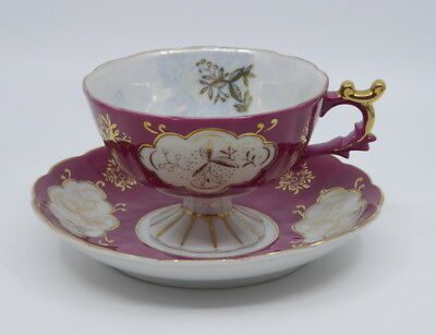 Lefton China Cup and Saucer Footed Hand Painted Mauve White Gold Scalloped Trim