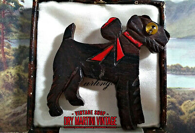 RARE ANTIQUE ART DECO 1920s CARVED WOOD AIREDALE TERRIER DOG BROOCH GLASS EYE