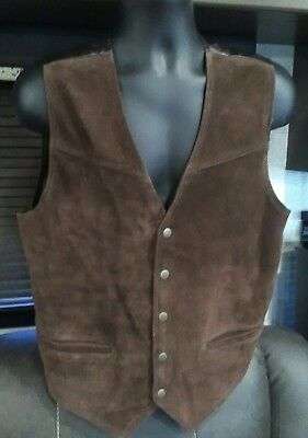 ROPERS Brown Suede Leather Oklahoma Star Snap Cowboy Biker Vest Men's Size M