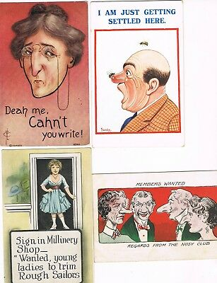 Lot of 32 ANTIQUE EARLY 1900s Postcards    * OLD-FASHIONED HUMOR *