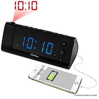 Electrohome USB Charging Alarm Clock Radio with Time Projection, Battery Backup,
