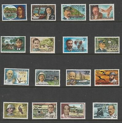 Christmas Island 1977/8 Set of 16 Famous Visitors $2 to 1c MUH stamps