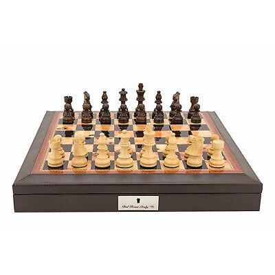 Dal Rossi Walnut Finish + PU Leather Bevelled Edge Chess Set EXTRA 5% OFF