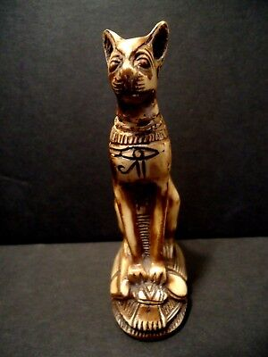 Egyptian CAT GODDESS BASTET Figure Scarab Eye Horus Ra Egypt faux bone feline