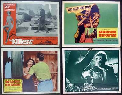 4 Vintage Movie Lobby Cards: The Killers, Miami Expose, Murder Reported, Tomb