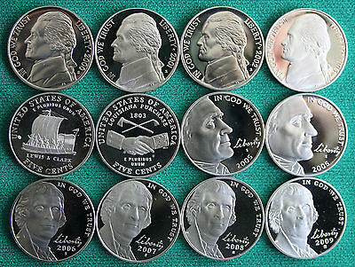 2000 thru 2009 PROOF Jefferson Nickel Coin Collection 12 Five Cents US Mint 5c