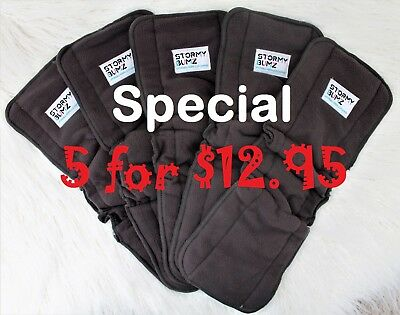 5 x 5 Layer Inserts Reusable Bamboo Charcoal Booster Baby Modern Cloth Nappies