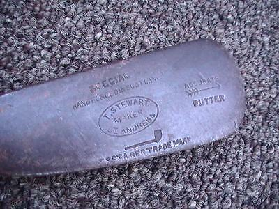 Rare ANTIQUE TOM STEWART MAKER ST.ANDREWS DOT FACE  OFF SET WOOD SHAFT PUTTER