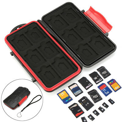 12 TF + 12 SD Cards Box Hard Pouch Memory Card Case Holder Protector Waterproof