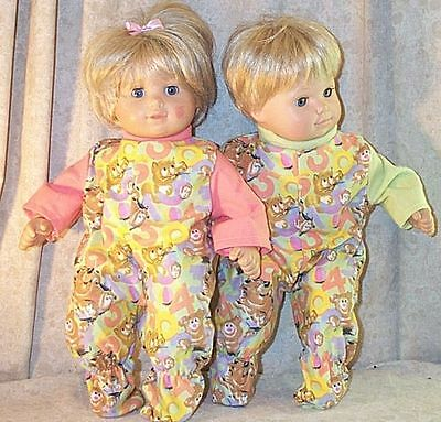 """Doll Clothes Baby Made 2 Fit American Girl 15"""" inch Twins Pajamas Bitty Bears"""