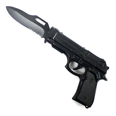 "8"" Pistol Hand Gun Style Spring Assisted Open Folding Pocket Knife BLACK"
