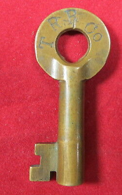 Key - Brass Hollow Barrel Key with T** CO initials