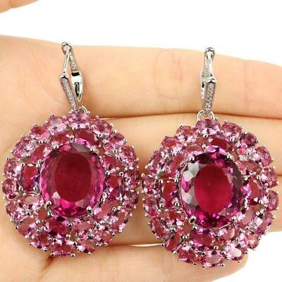 Awesome Long Big Pink Tourmaline, CZ Woman's Party Silver Earrings