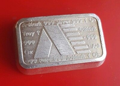 Vintage A-Mark Chunky Ingot - 1 Troy oz .999 Fine Silver Stacking Bar USVI 1981