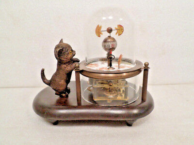 Interesting Animated Skeletonized Fish & Kitty Clock With Wooden Base/Glass Dome