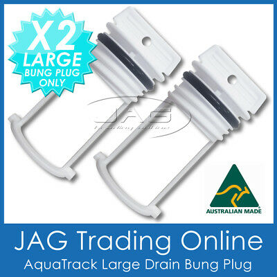 2 x AQUATRACK WHITE LARGE REPLACEMENT BUNGS ONLY - BOAT DRAIN BUNG PLUGS COARSE