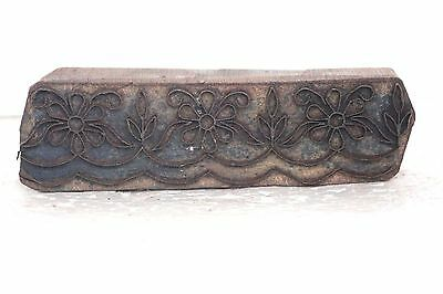 1900s Vintage Wooden Iron Antique Hand Carved Textile Printing Block Stamp T73