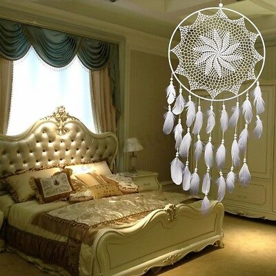 US Handmade Dream Catcher White Goose Feather Home Wall Hang Decor Ornament