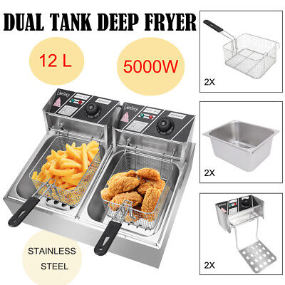 5KW 12.7QT Electric Deep Fryer Dual Tank Frying Cooking Machine Commercial 12L
