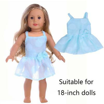 Fashion Handmade Doll Clothes Party Blue Dress For 18 inch Girl Doll Hot