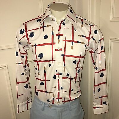 Vtg 60s 70s White MR WITT Mens MEDIUM Polyester Saturday Night Fever Disco shirt