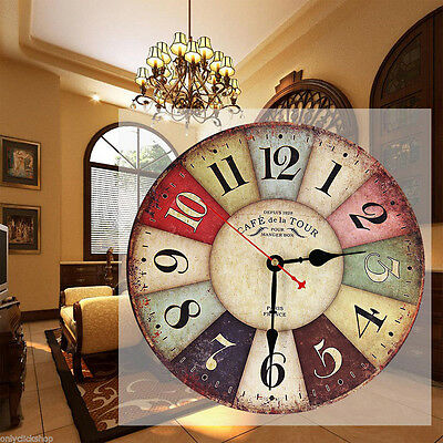 Vintage Wooden Wall Clock Shabby Chic Rustic Retro Kitchen Home Antique Decor Y✿