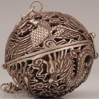 Antique Tibetan Silver Pendant Ball Incense Burner Hollow Dragon And Phoenix-