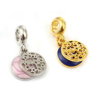 5PCs Alloy European Style Large Hole Charm Dangle Beads Round Gold Plated Star