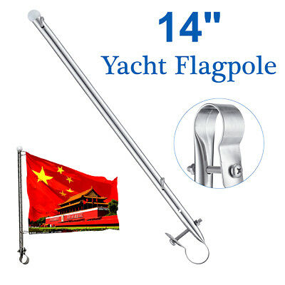 Rail Clamp Flag Staff Pole 14 Inches Stainless Steel For Boat Marine