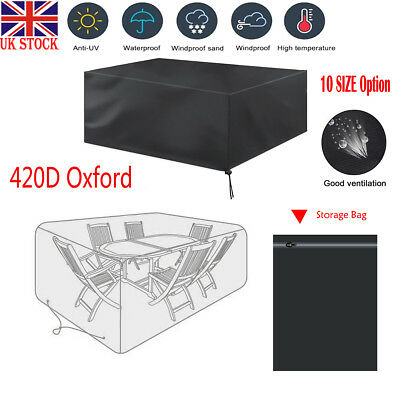 UK 420D Oxford Garden Patio Furniture Table Cover Waterproof Rectangle Outdoor