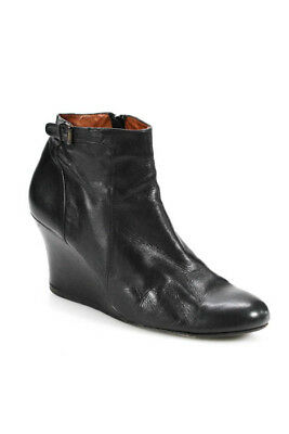 Lanvin Womens Booties Size 9 Black Zip Up Round Toe High Wedge Heels Leather