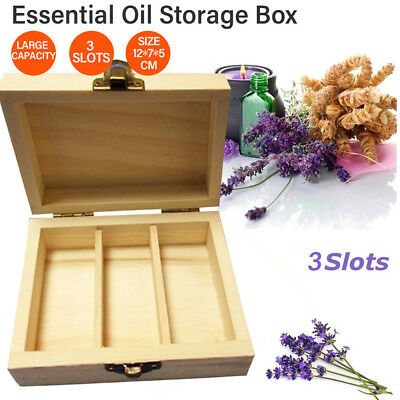 3 Slots Bottle Essential Oil Wooden Storage Box Case Container Aromatherapy AU