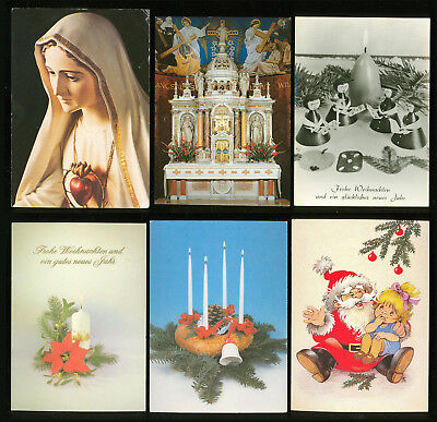 postcard f52 greetings easter christmas and new year old used 6 pcs
