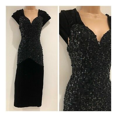 Vintage 80s Faviana Couture Black Velvet Sequin Fitted Xmas Cocktail Dress 10-12