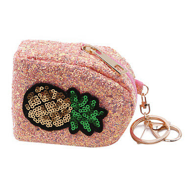 Ladies Trendy Glitter Pineapple Pattern Sequins Mini Coin Purse Keychain Z