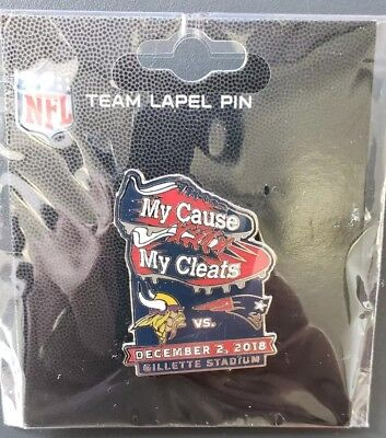Minnesota Vikings VS New England Patriots 12/2/18 Game Day Pin MyCause My Cleats