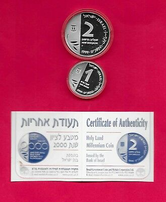 1999 Holy Land Millennium Silver Coins Coa With Box & Certificate Israel