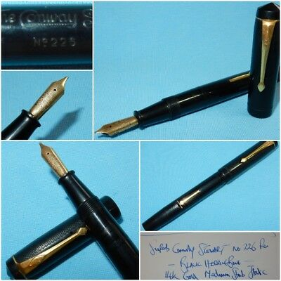 c 1938 CONWAY STEWART No 226 FOUNTAIN PEN CHASED BLACK 14K MED MINT RESTORED