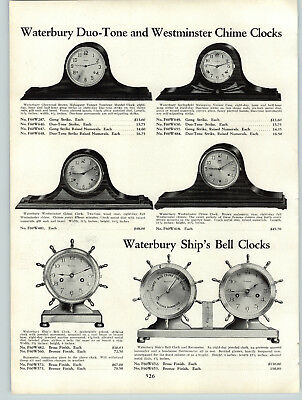 1931 PAPER AD Waterbury Ship's Wheel Brass Desk Clock Mantel Sessions Chime