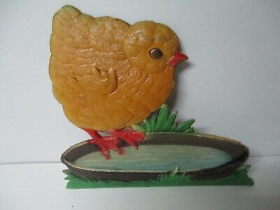 Beautiful Old West Germany Pressed Embossed Easter Diecut - Chick Eating